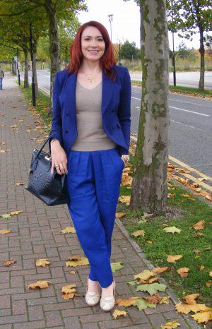Royal Blue and Oatmeal, Mary Portas blue trousers, Zara blue jacket