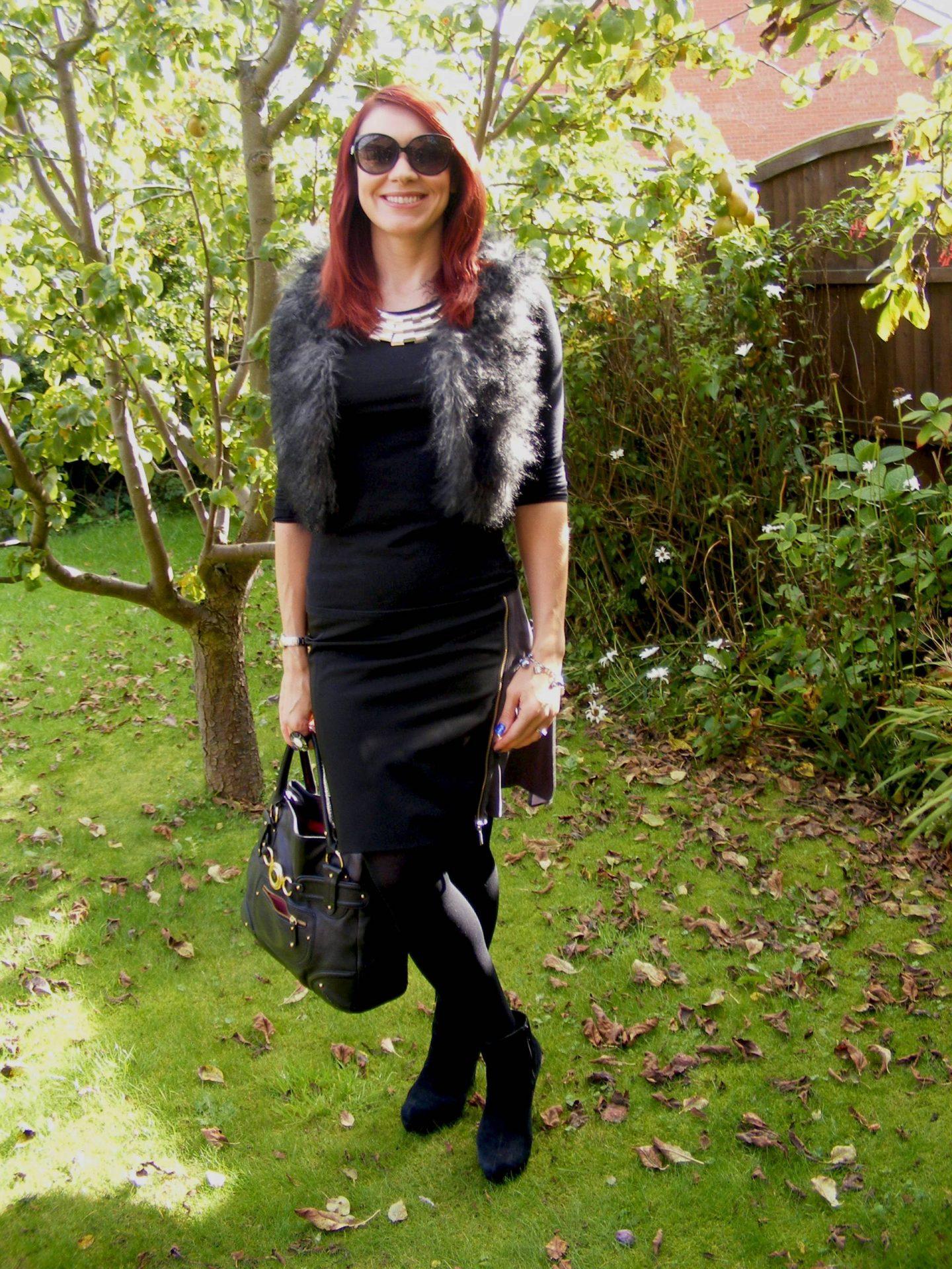 Asos Faux Fur Gilet and Karen Millen Skirt
