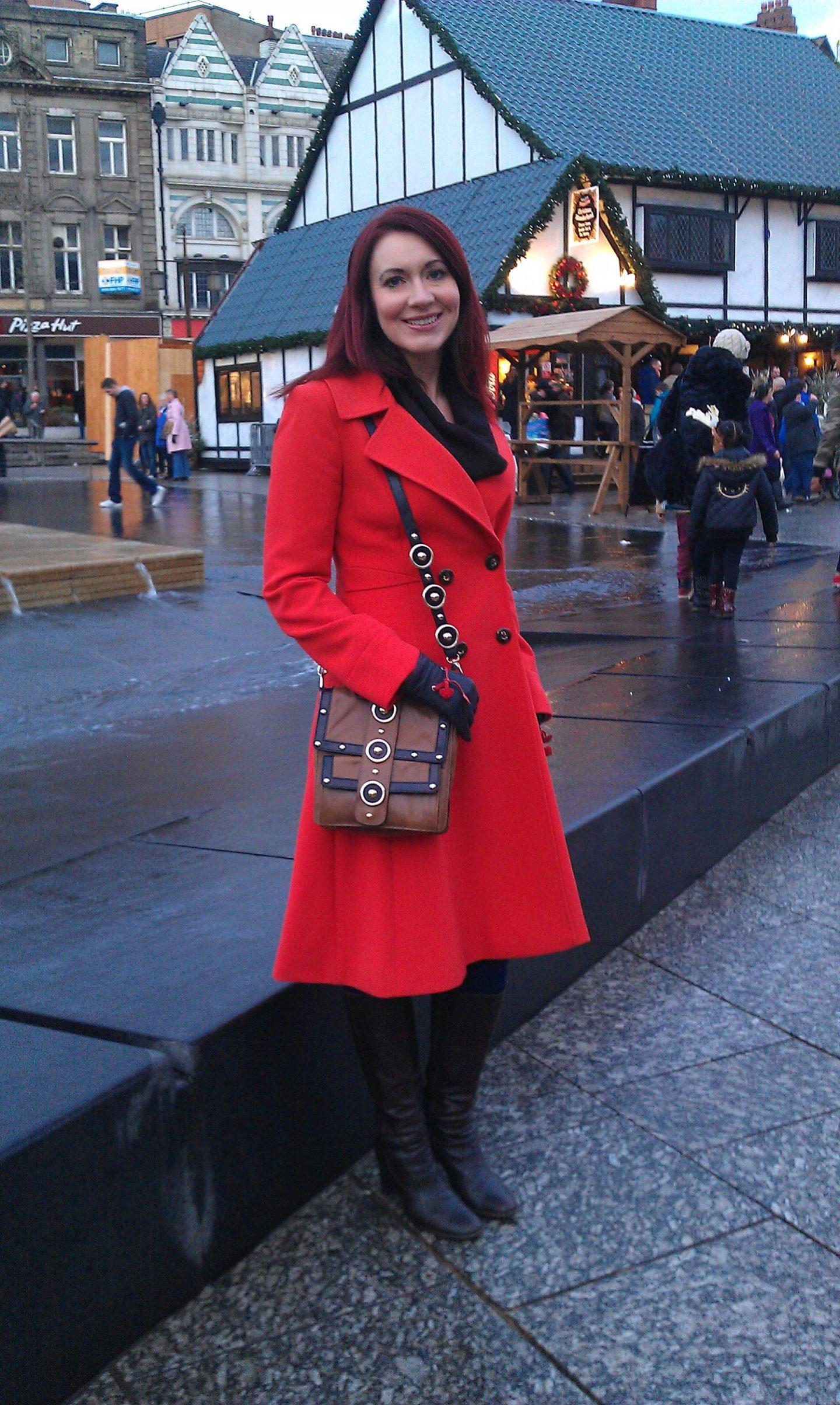 Festive Bright Red Coat, Temperley messenger bag