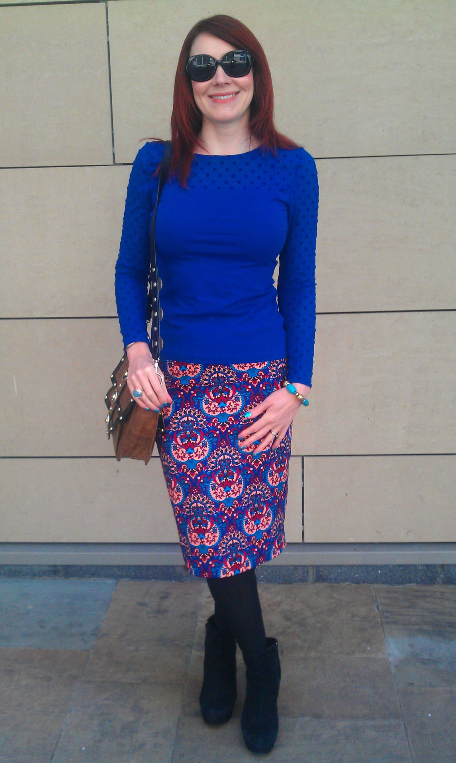 High Street Heroes | H&M Blue Spot Top and Matalan Pencil Skirt