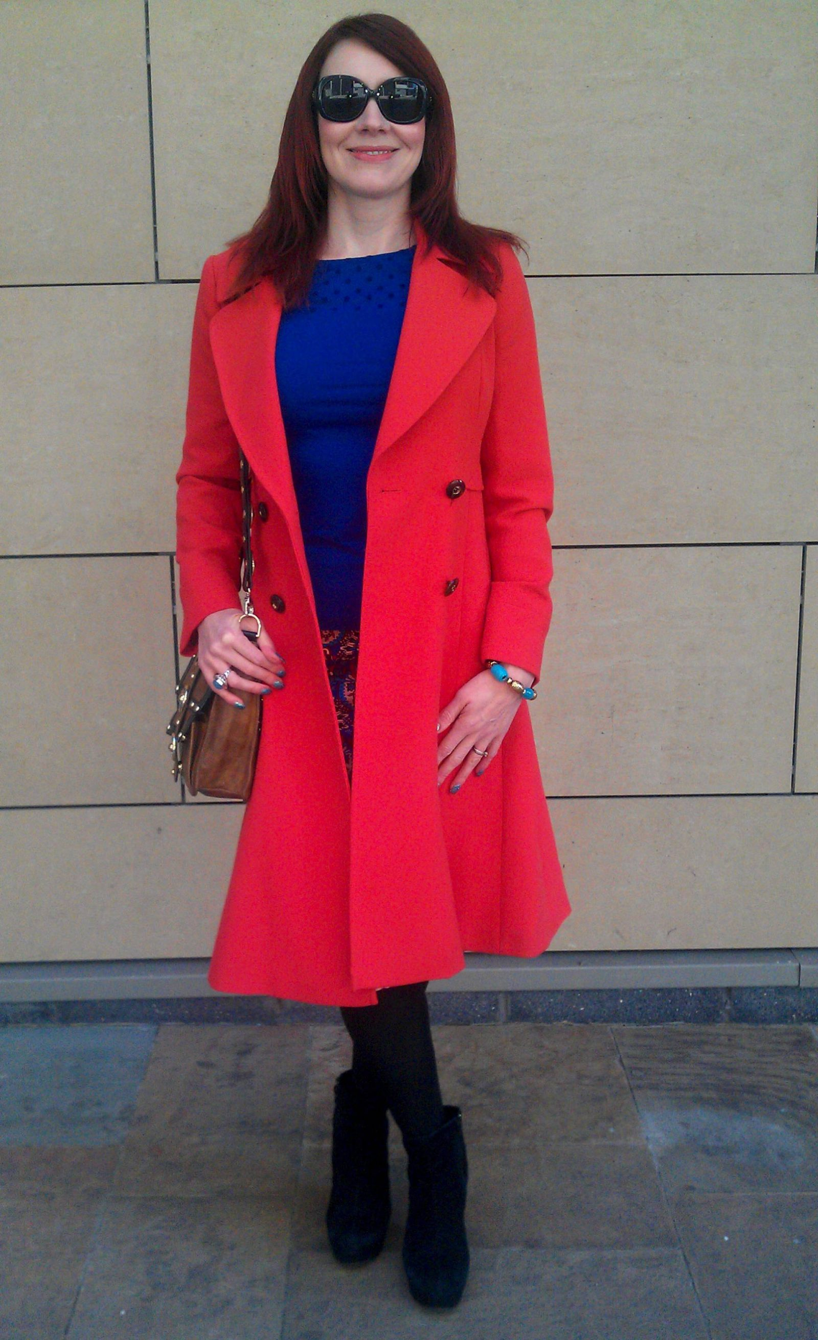 High Street Heroes | H&M Blue Spot Top and Matalan Pencil Skirt, Red Jasper Conran coat