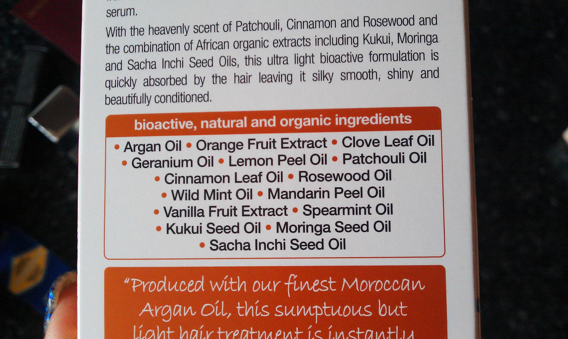 Dr Organic Argan Oil Hair Treatment Serum ingredients list