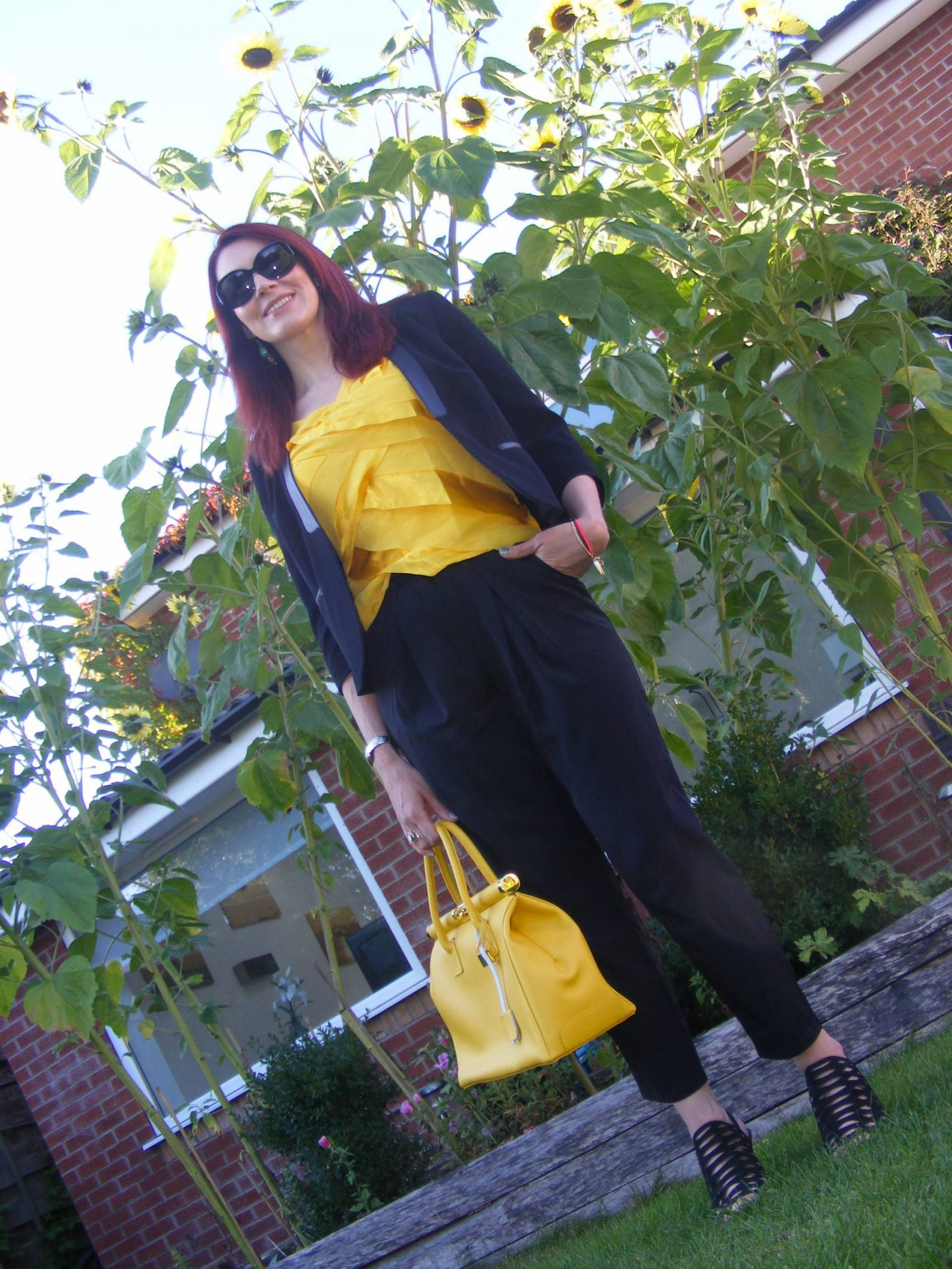 black M&S jacket, yellow Principles by Ben de Lisi top