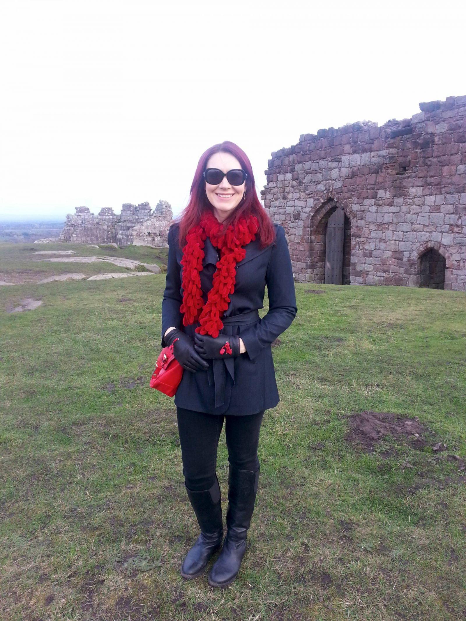 Beeston Castle navy Tahari trench coat