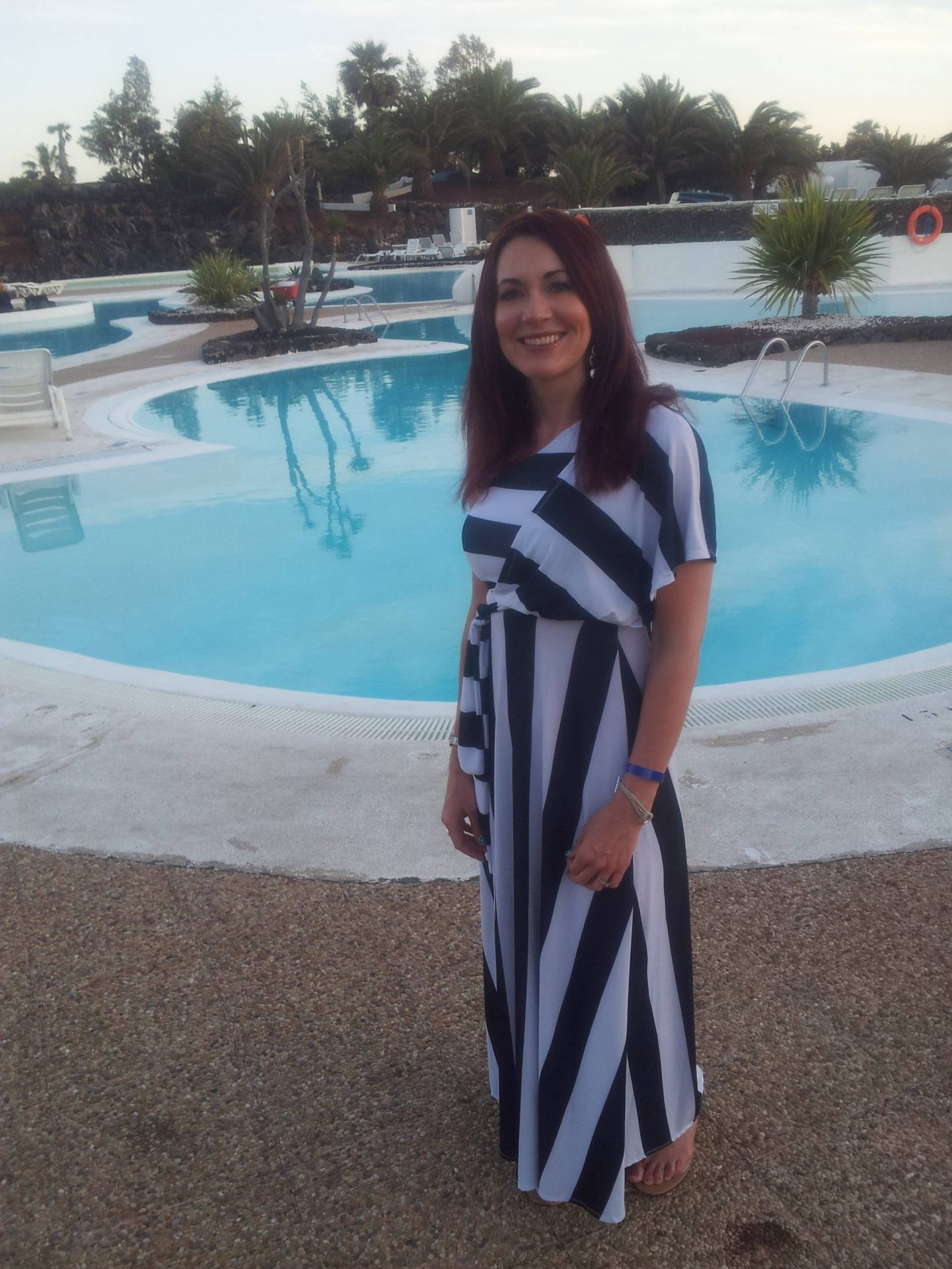 black and white maxi striped dress