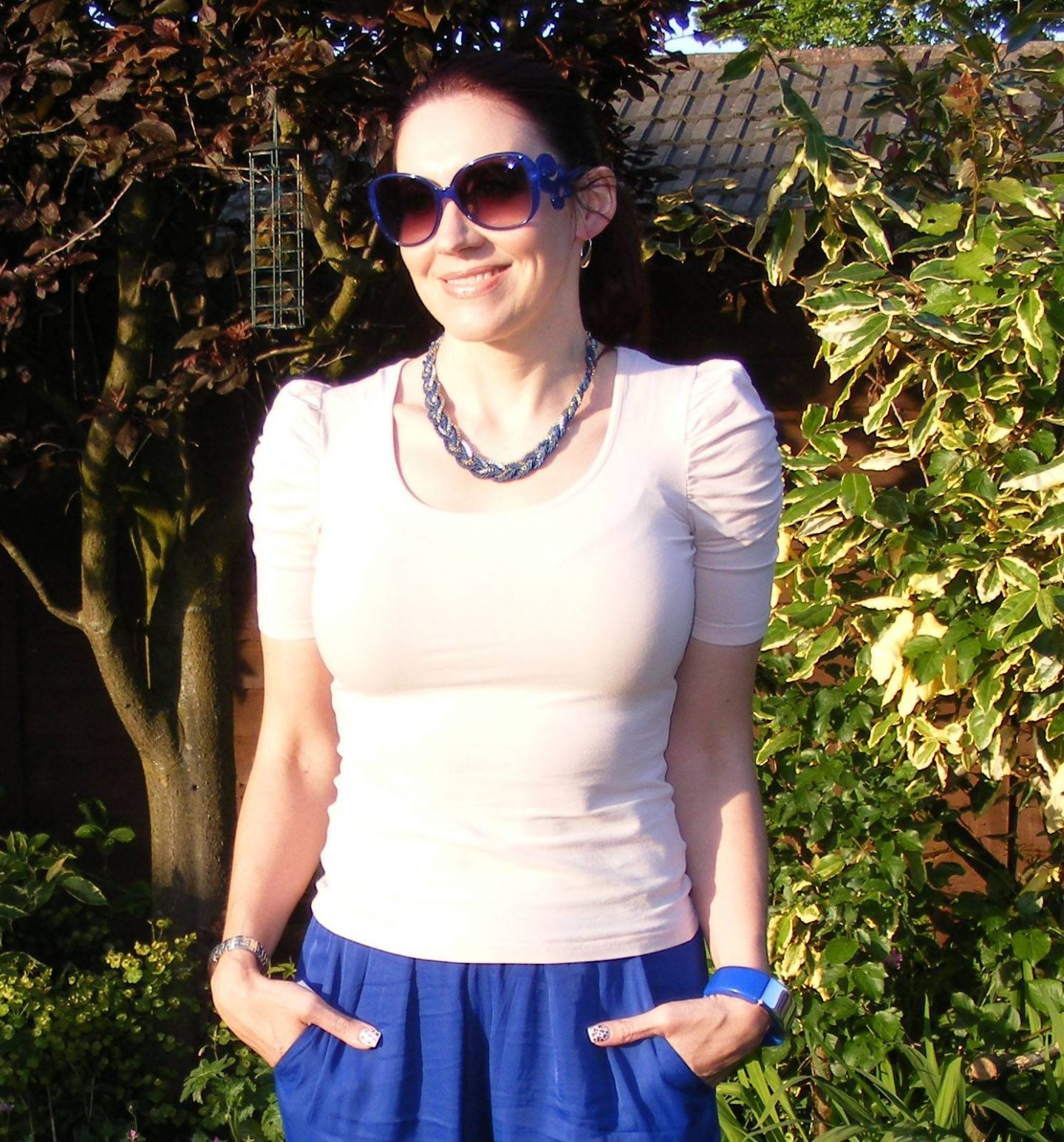 Mary Portas Blue Trousers and Blush Pink Top, Asos blue sunglasses