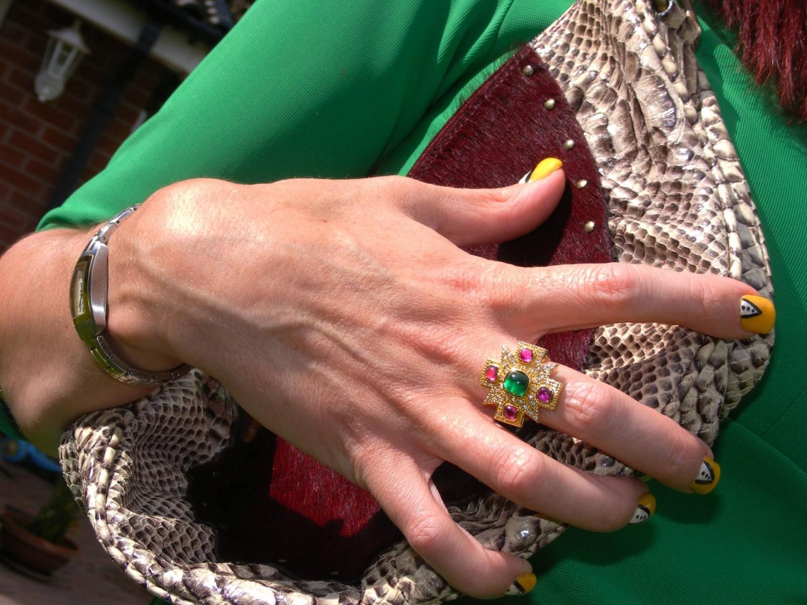 LK bennett snakeskin bag Kenneth Jay Lane ring