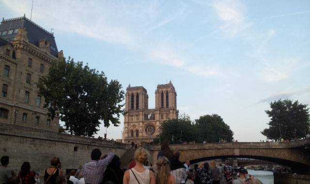 Paris: Seine Cruise and Moulin Rouge, Max Azria dress, Notre Dame