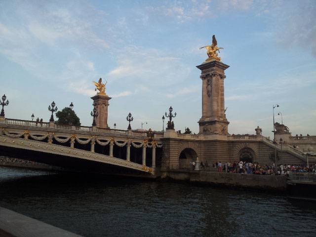 Paris: Seine Cruise and Moulin Rouge, Max Azria dress, Pont Alexandre III