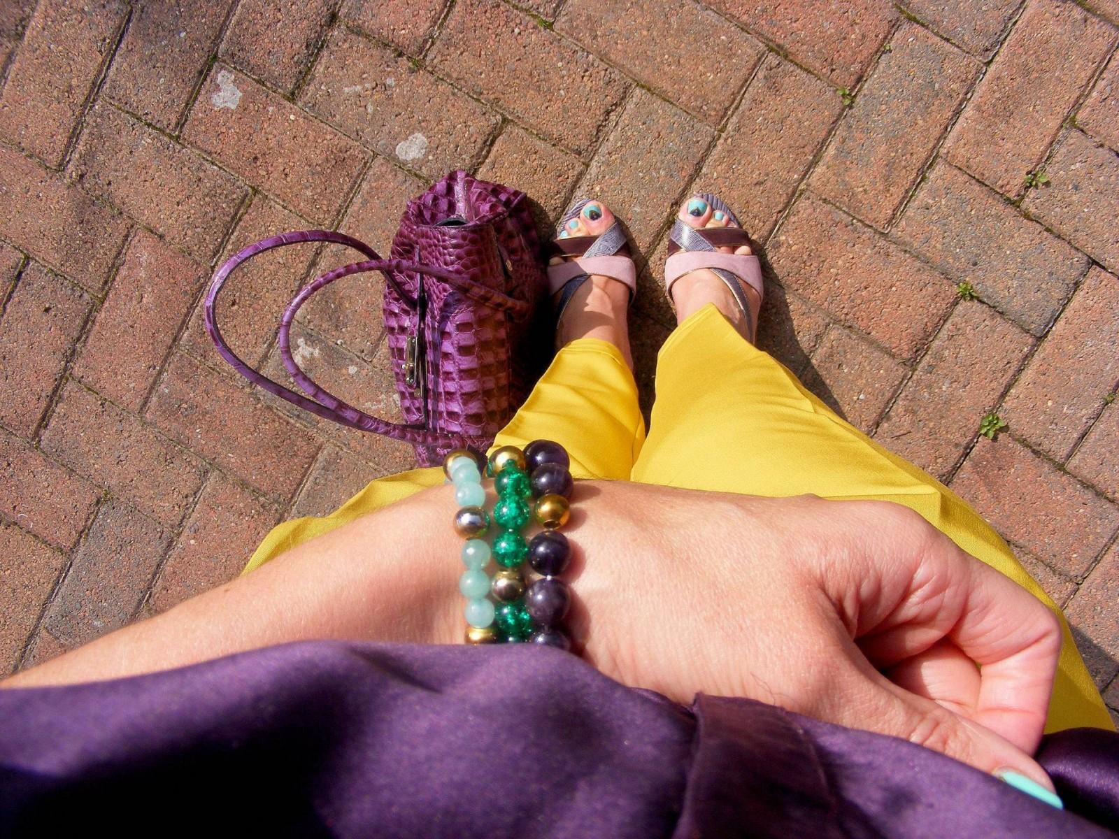 Autumn Brights, Mustard asos trousers Reiss purple silk blouse, Nine West purple shoes