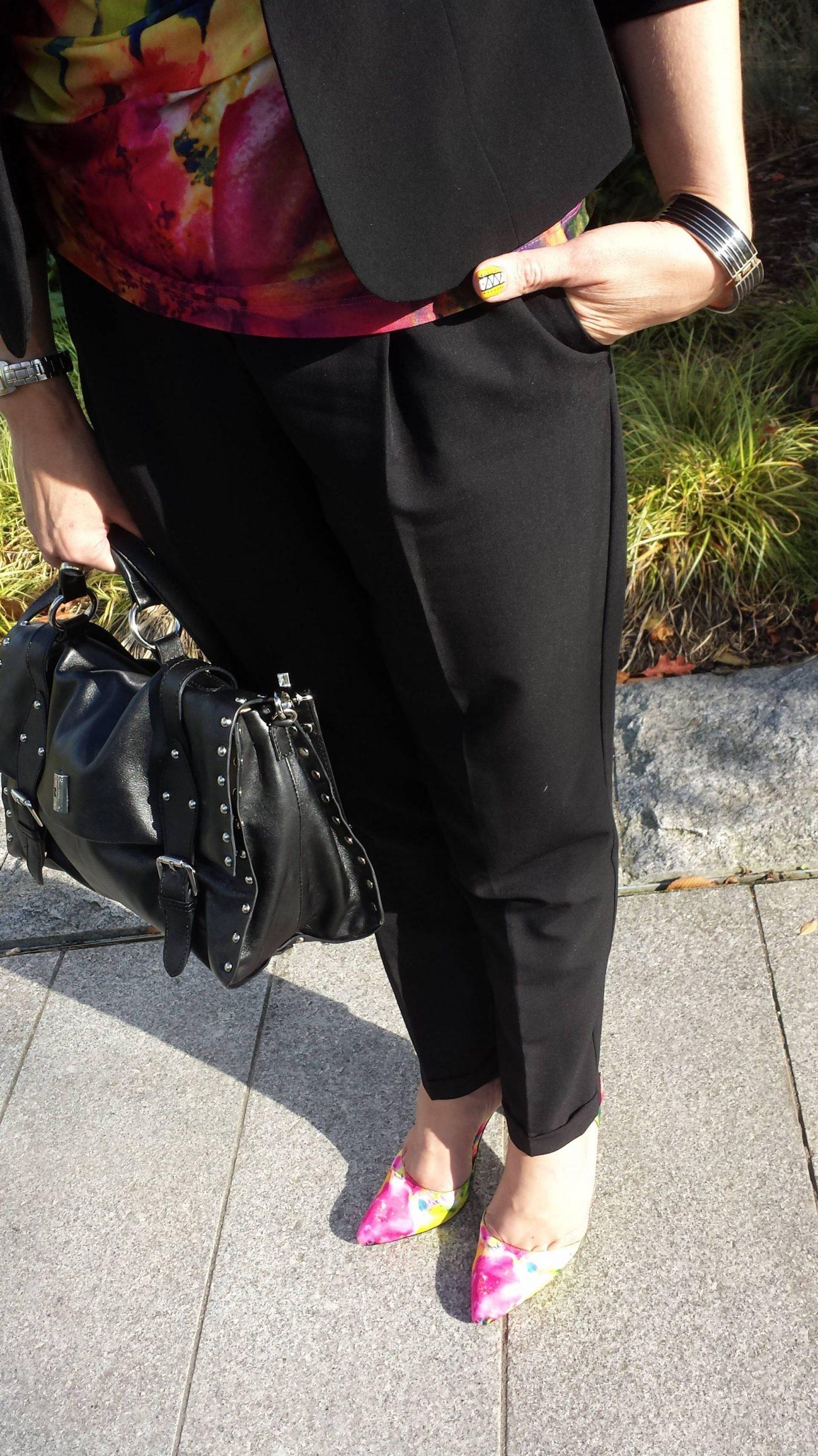 Painterly Prints Neon Hues, Marks & Spencer top, Carvela Arbour shoes, Modalu studded satchel