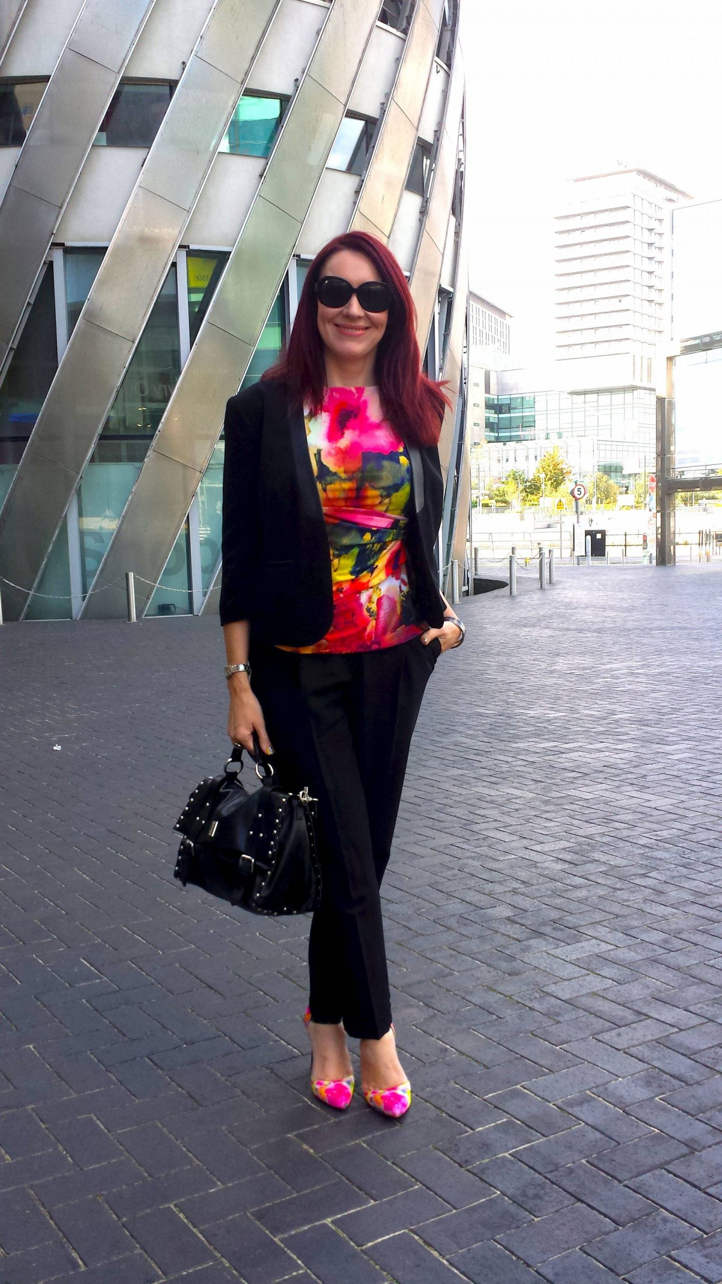 Painterly Prints Neon Hues, Marks & Spencer top, Carvela Arbour shoes
