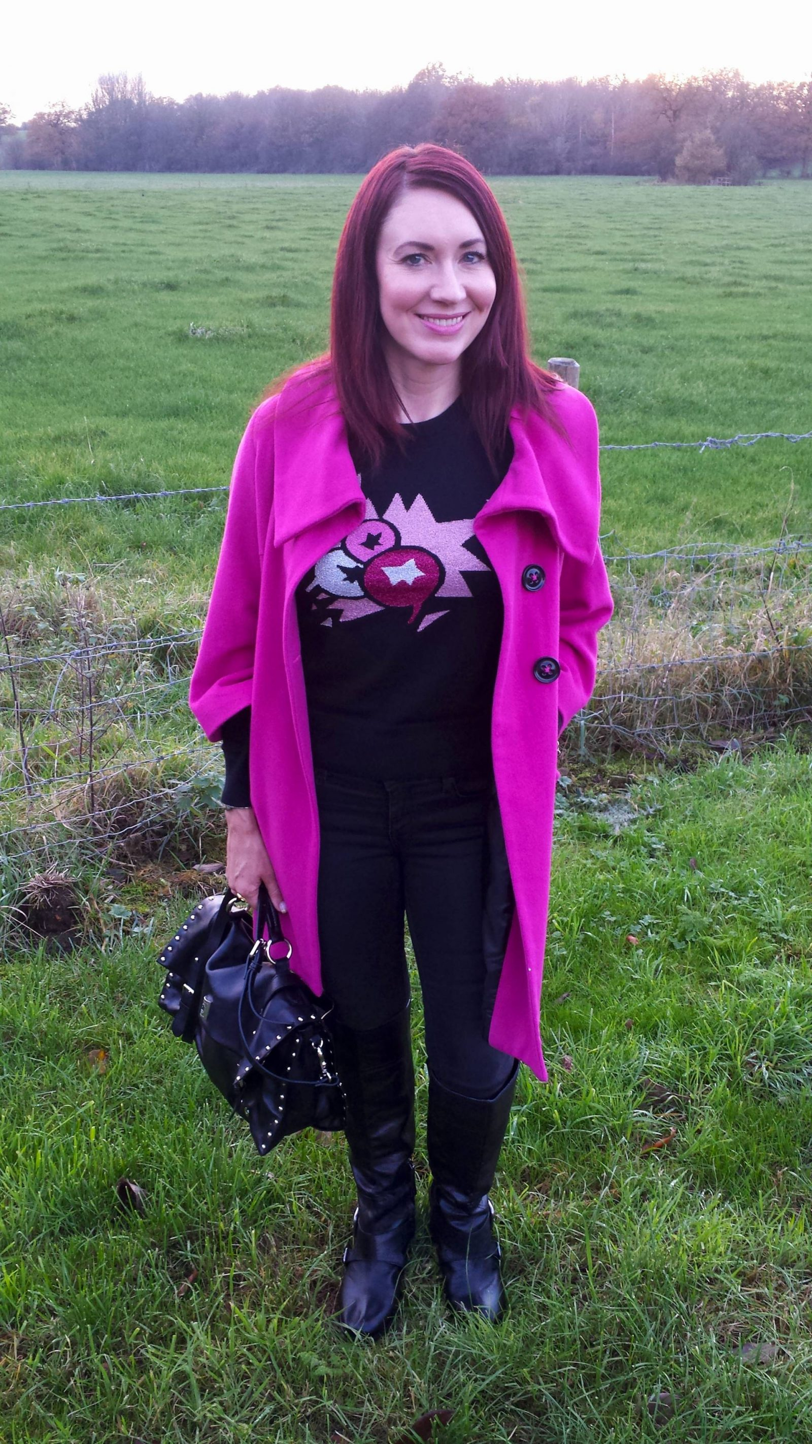 Pop of pink Per Una coat French Connection crackerberry jumper