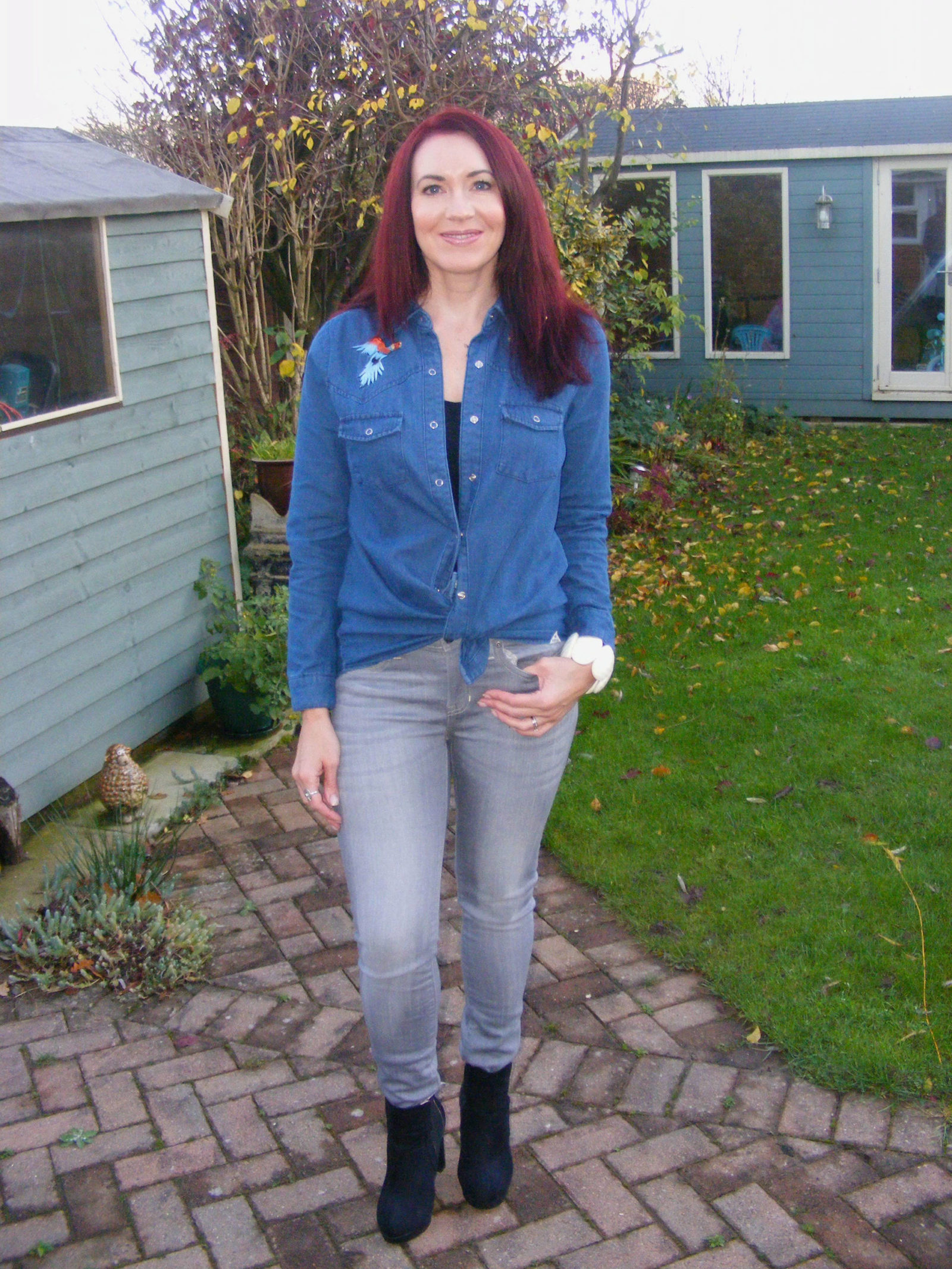 How to wear the double denim trend, Bellfield denim shirt Gap grey skinny jeans
