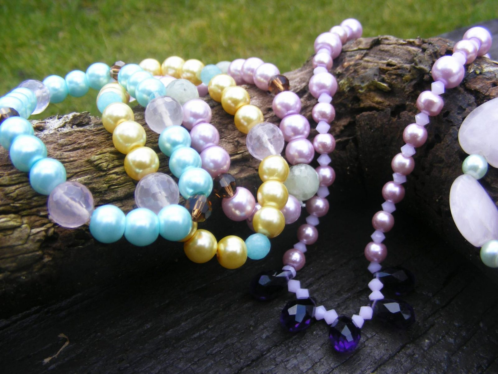 Handmade Jewellery for Spring, Pastel pearl bracelets and necklace