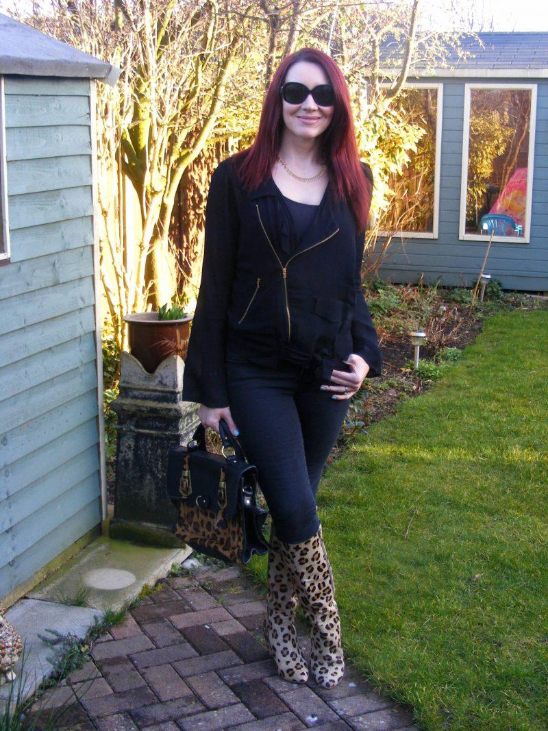 Leopard print boots and Asos leopard print satchel