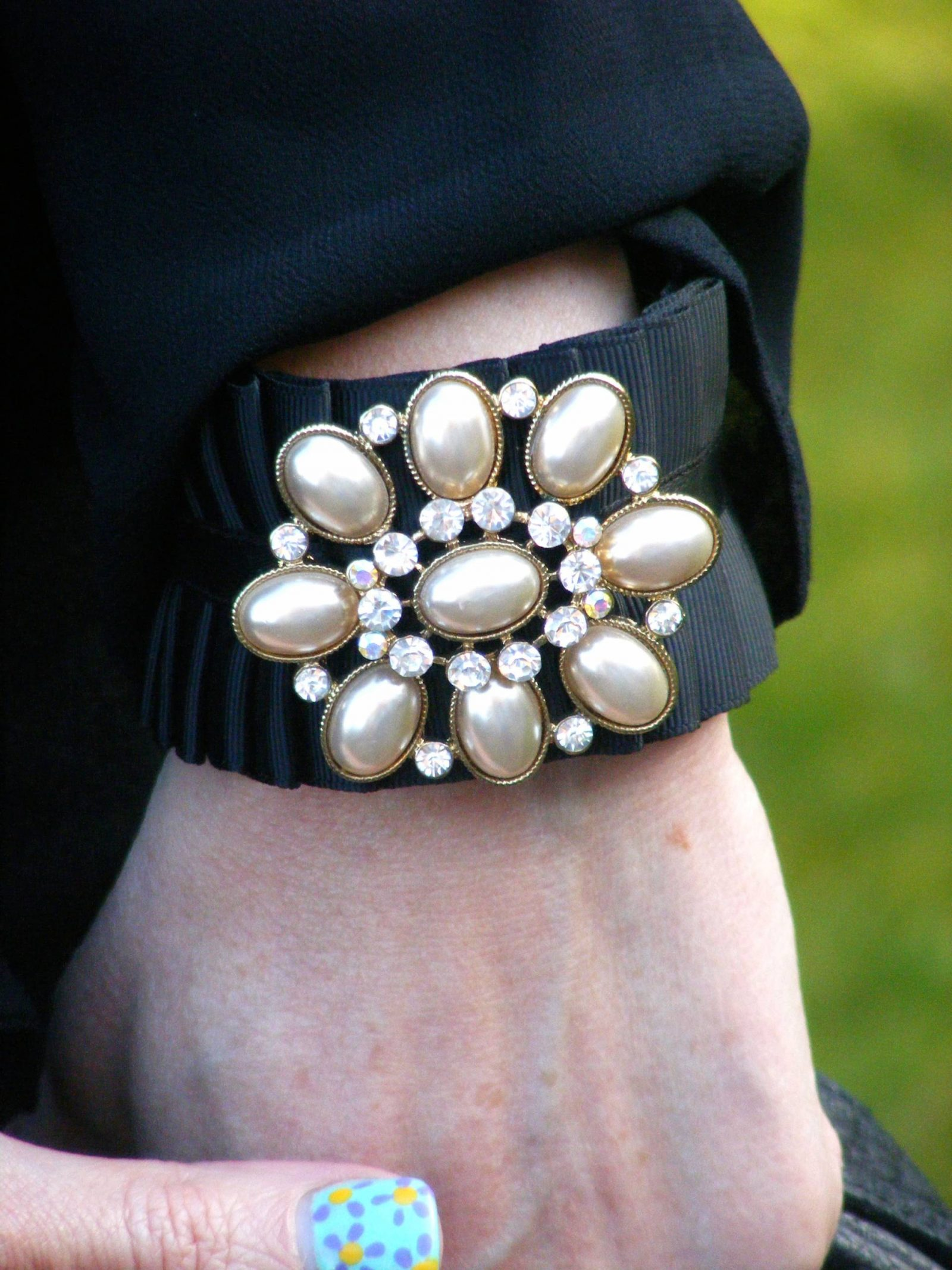 Pearl and diamante cuff