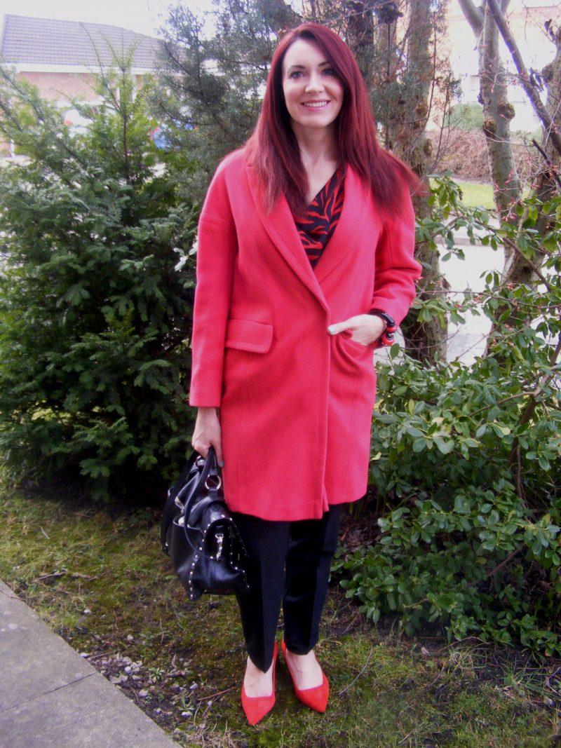 Red Wallis coat black Modalu leather studded satchel