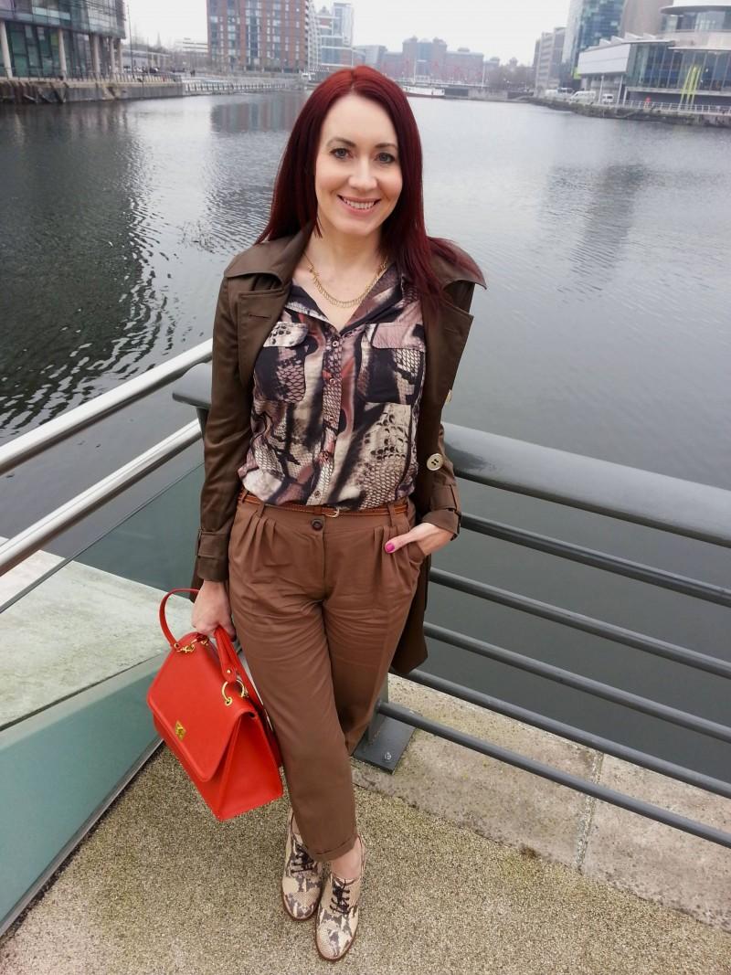 Mary Portas Snake print blouse Asos peg leg trousers