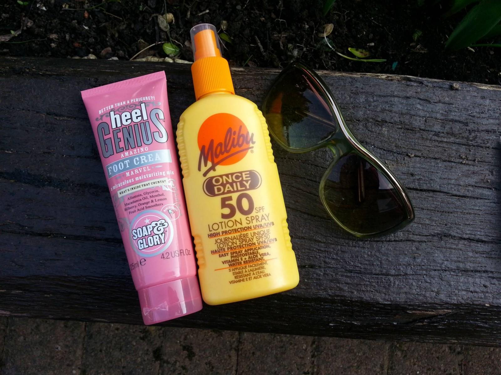 Soap and Glory Heel Genius Malibu SPF 50 suncream Salvatore Ferragmo sunglasses