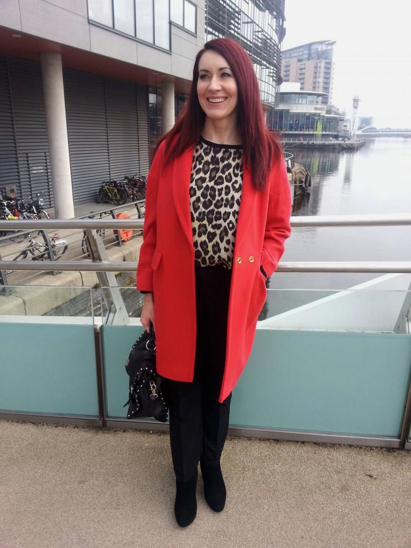Red Wallis coat and Zara leopard print top