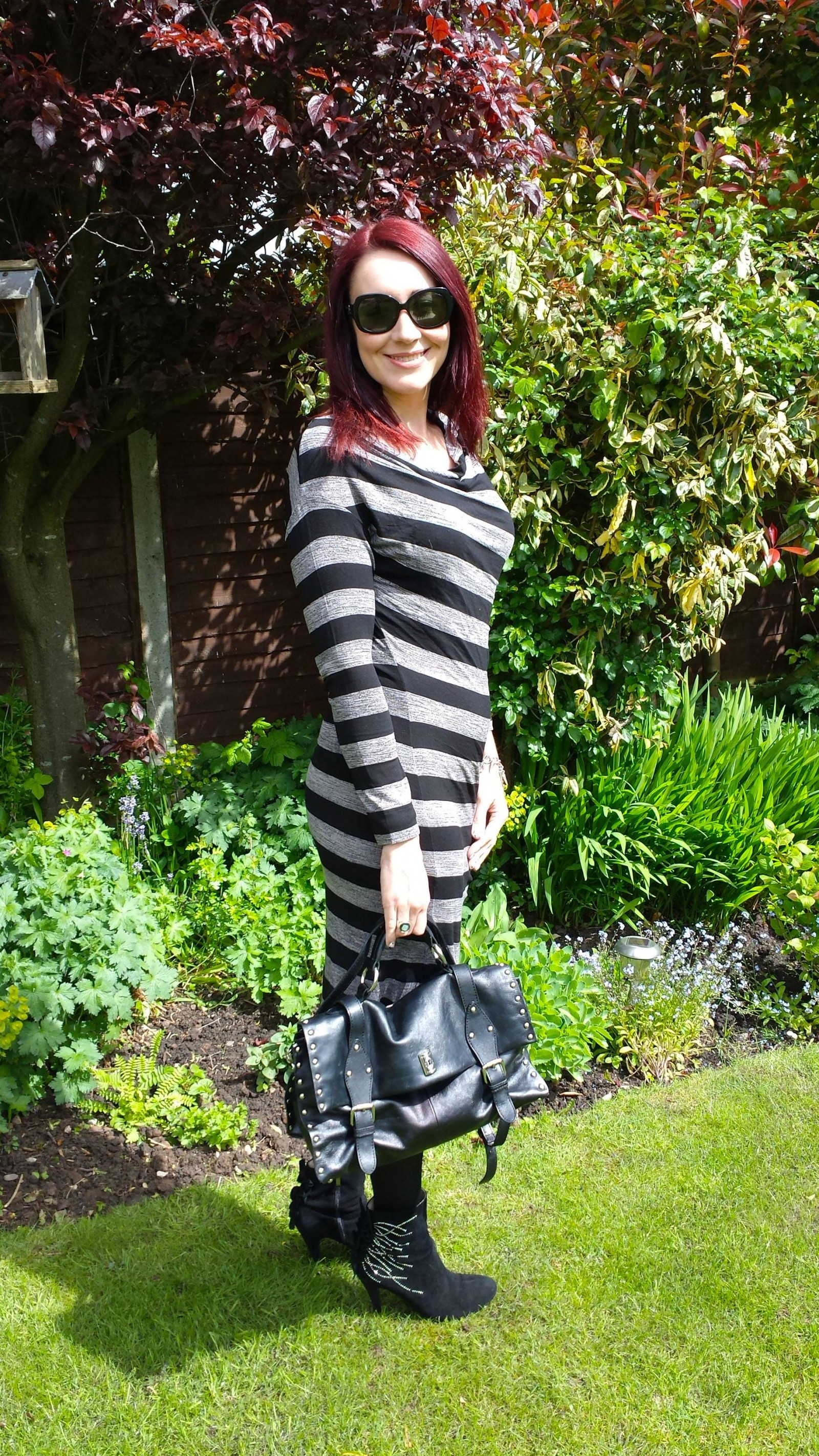 striped jersey dress, Modalu satchel