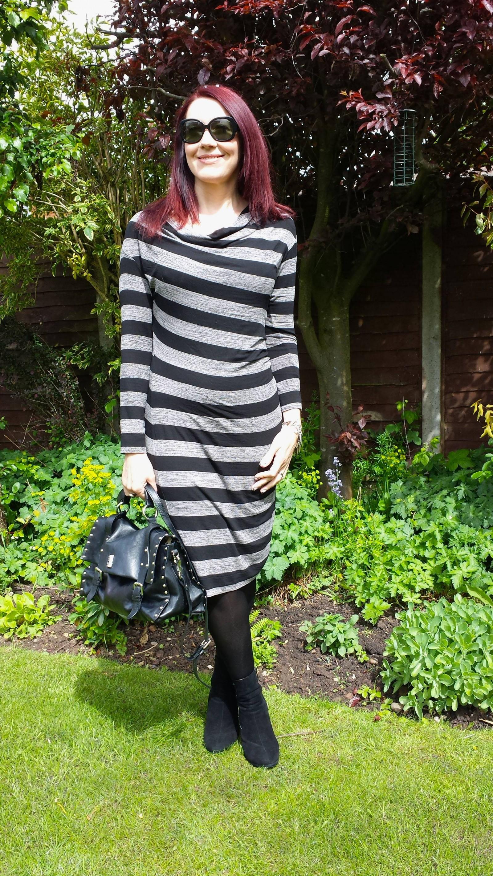 Linea striped jersey dress