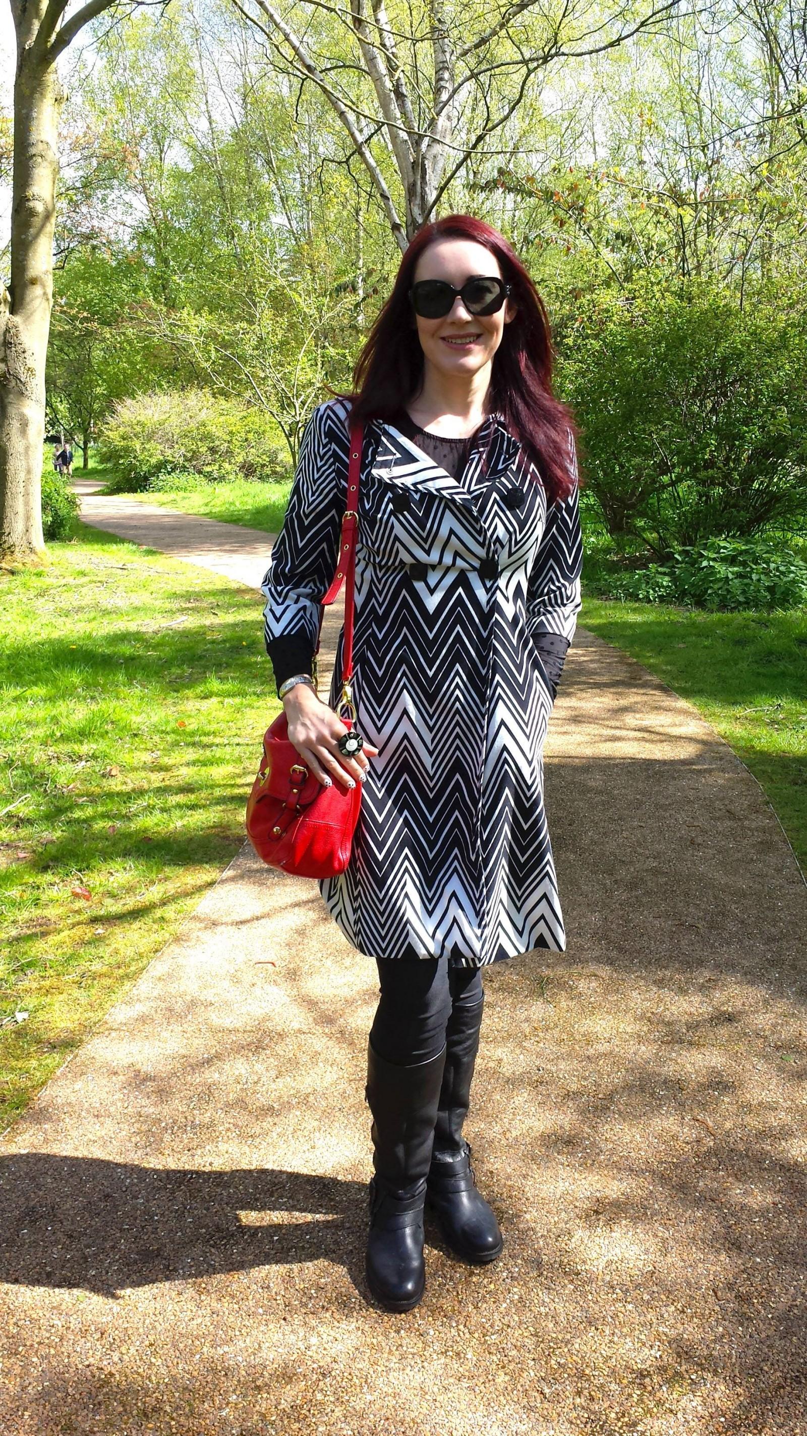 Monochrome Zigzag Print Coat - A Day Out at Jodrell Bank, Principles Ben de Lisi coat
