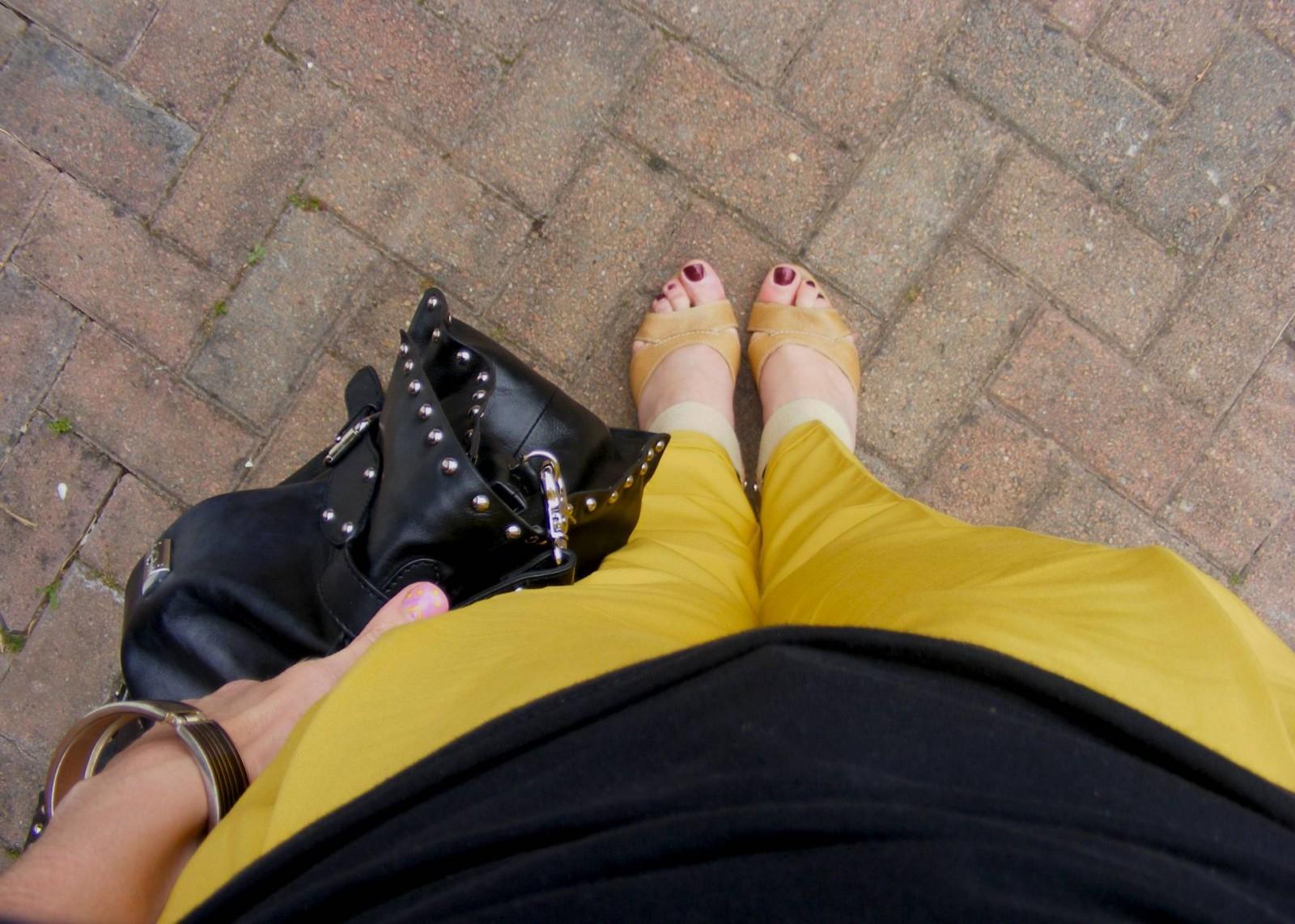 Asos mustard trousers and modalu bag