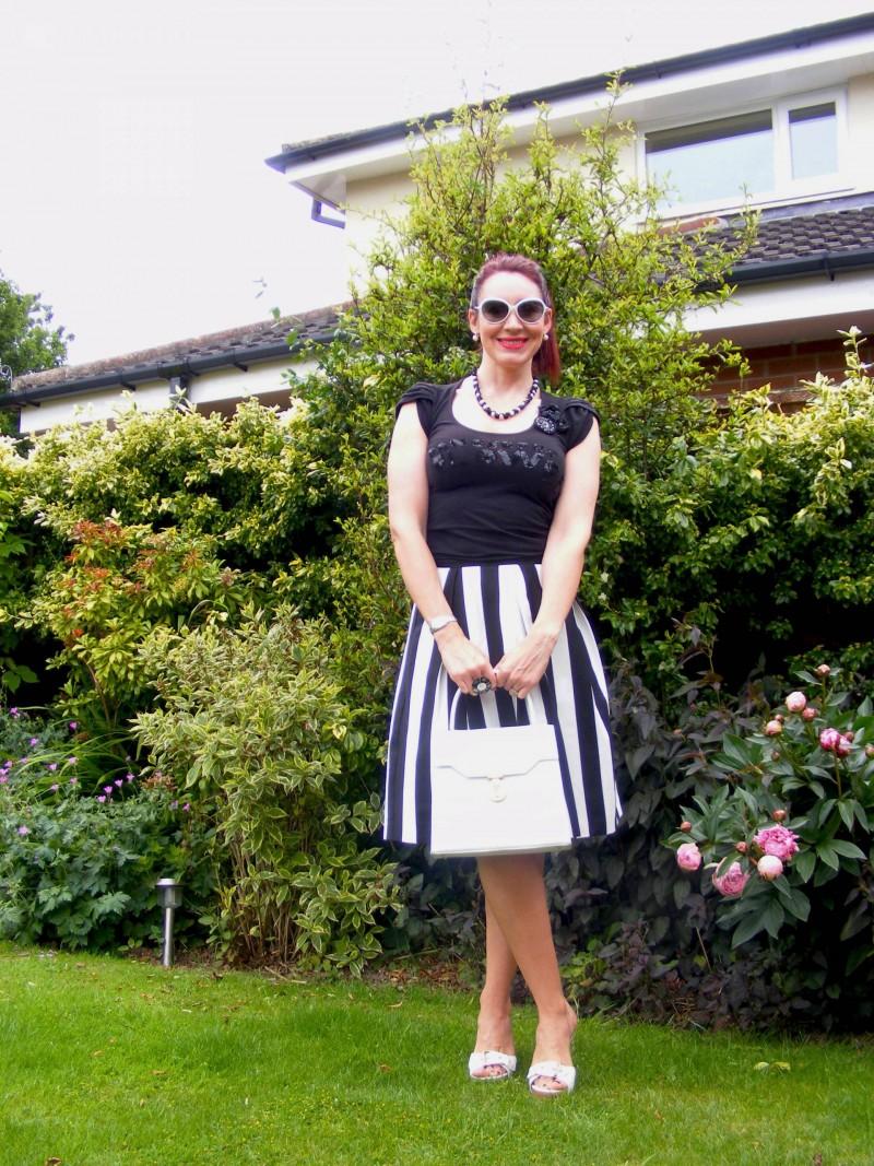Principles black and white stripe skirt