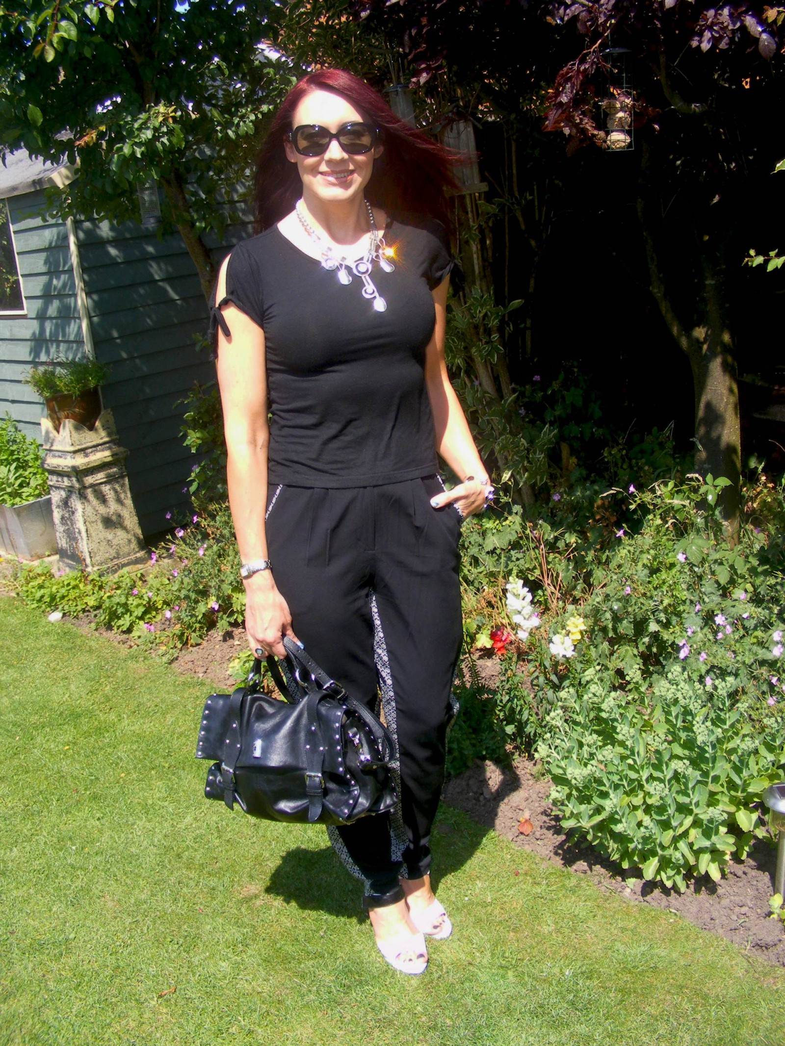 Black and white Asos trousers