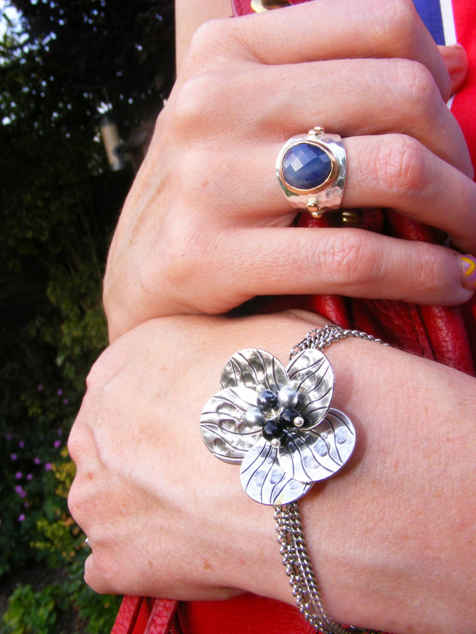 Pia silver ring and bracelet