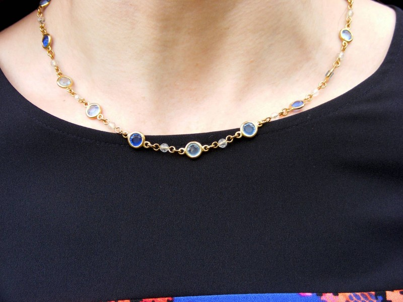 Blue and gold Avon necklace