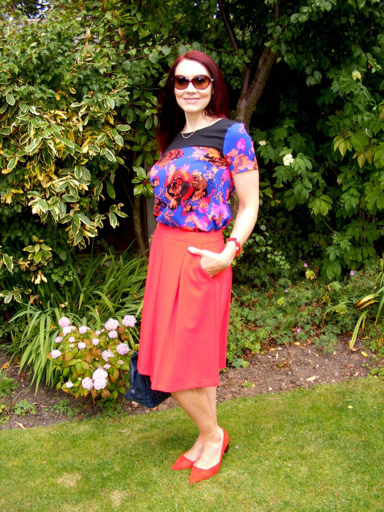 M&S red skirt and pixel print top