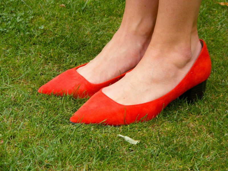 Marks and Spencer red suede shoes