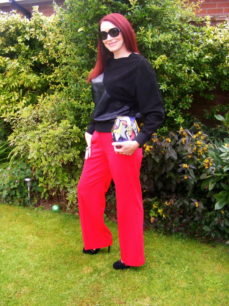 Oak leather top and Oasis red trousers