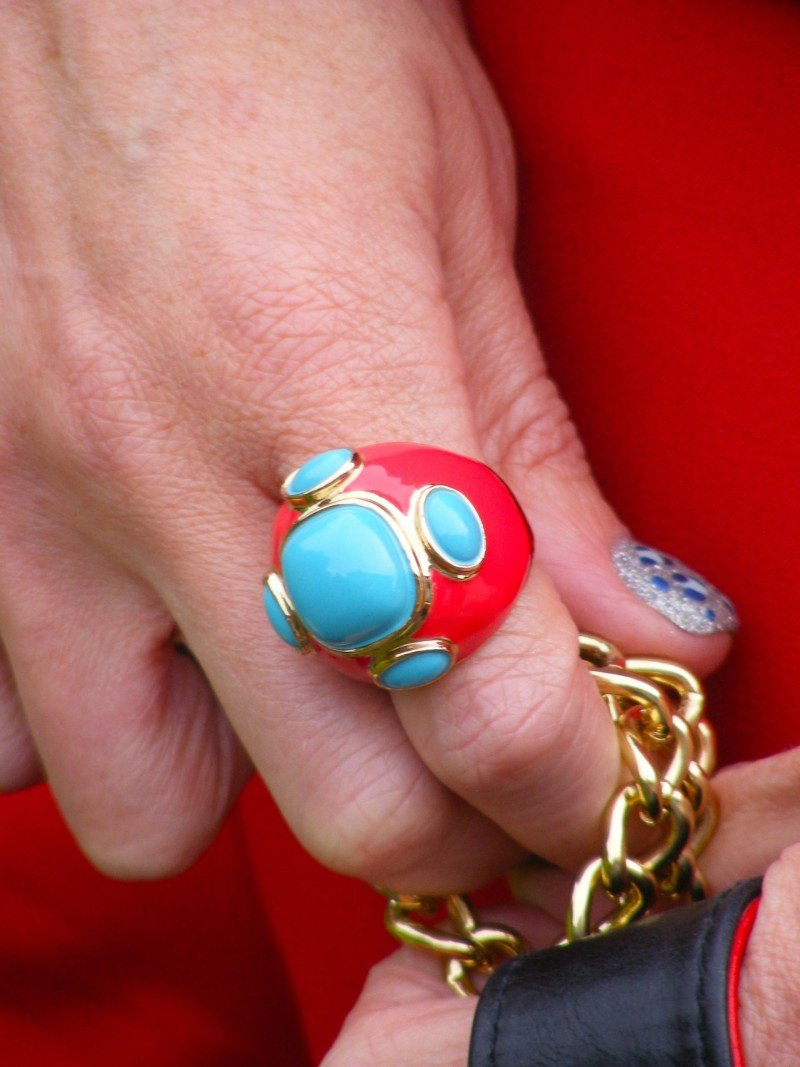 Red and turquoise ring