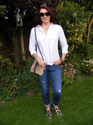 Gap boyfriend jeans Jaeger white shirt