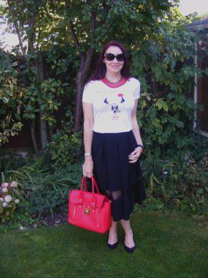 Coco Chanel tee and Asos midi skirt