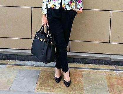 Mila Blu black bag Asos peg leg trousers