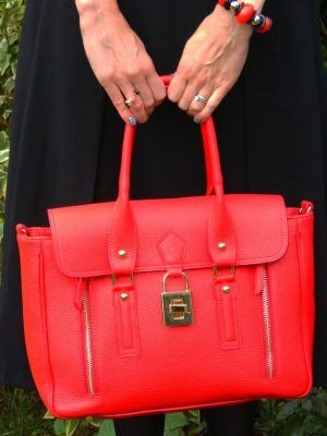 Mila Blu red leather handbag