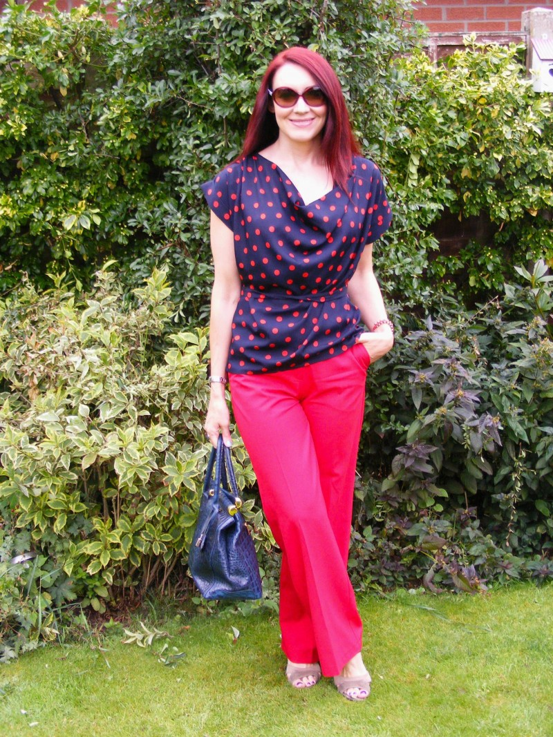 Dorothy Perkins polka dot top Oasis red trousers