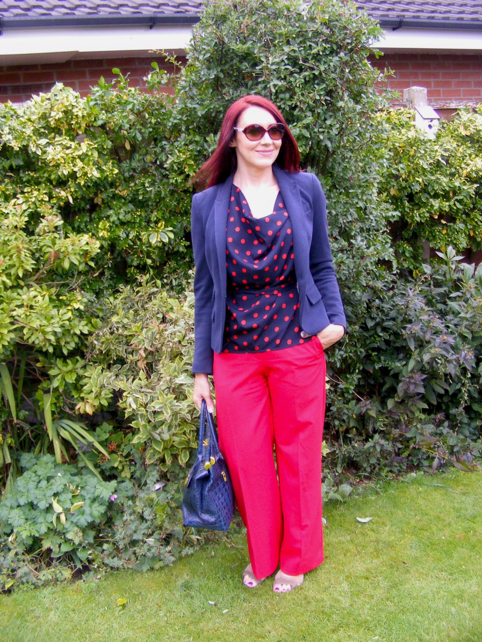 Dorothy Perkins spot top Zara navy jacket Oasis red trousers