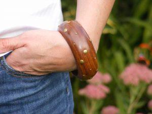 chunky wooden studded bangle