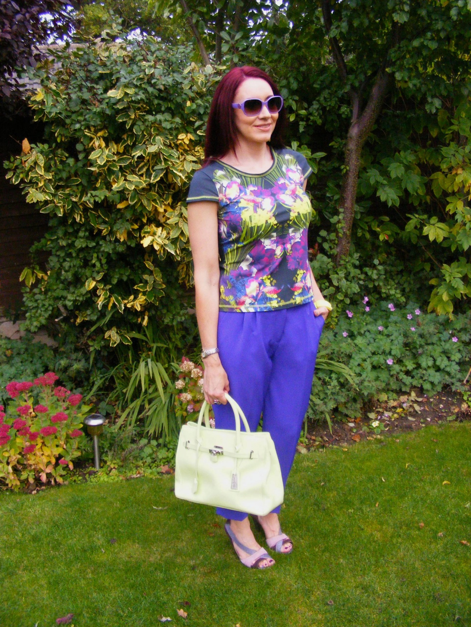 Karen Millen Tropical Print Top and Purple Trousers