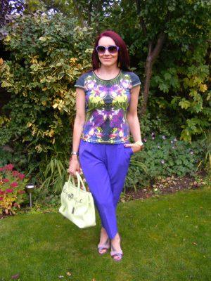 Purple Asos trousers Karen Millen top