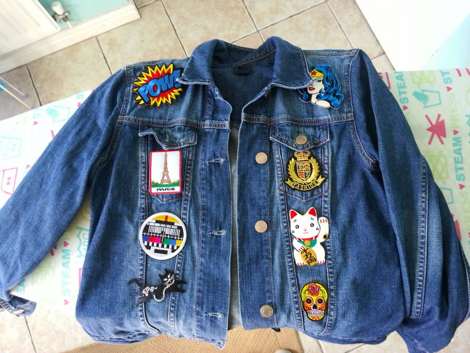 customised denim patch jacket
