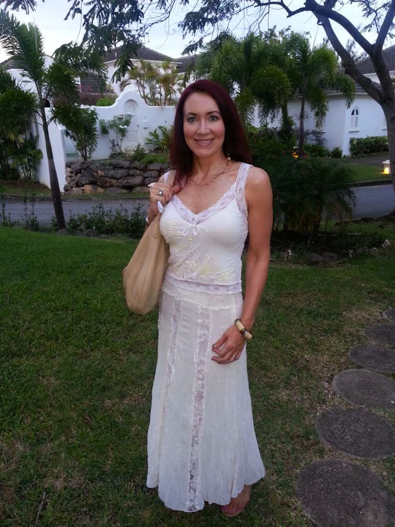 White M&S lace crinkle skirt Barbados holiday wardrobe