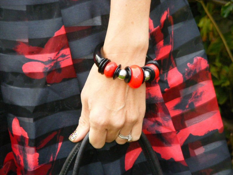 Red and black chunky bangle