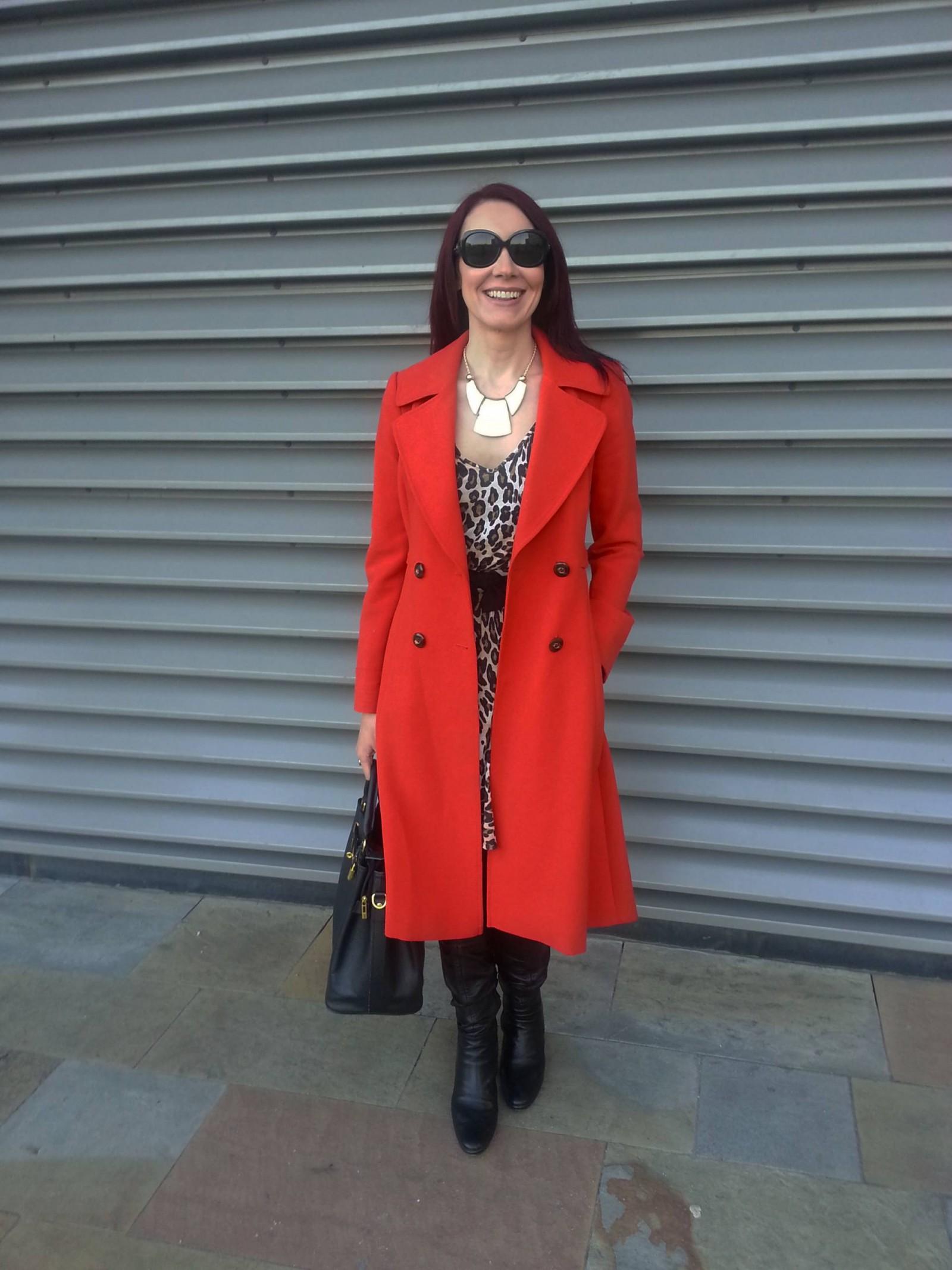 Red J by Jasper Conran Coat and Zara Leopard Print Dress